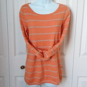 Banana Republic orange gray striped sweater